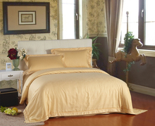 100% Cotton Gold Leaves Jacquard duvet cover set Luxury Hotel Bed Linen Cotton Bed Sheet set King size Full(China (Mainland))