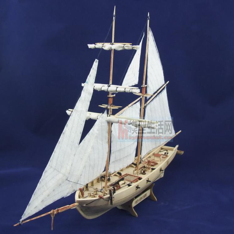 Free shipping 1/100 Scale Wooden Sailboat Halcon1840 Model Ship + Brass updates kits(China (Mainland))