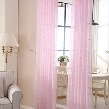 3 colors for choice star tulle printed customized curtain for living room american style rustic curtain #30(China (Mainland))