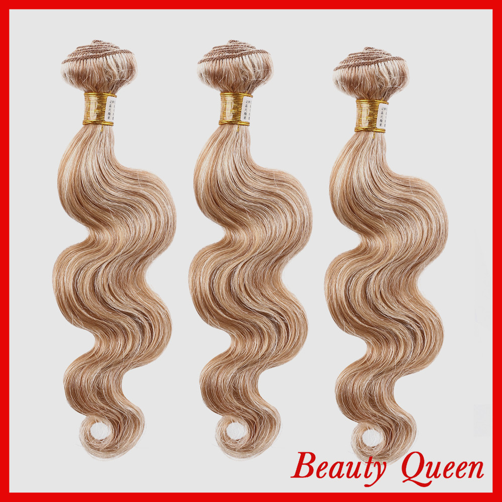 7A Queen Hair Products Brazilian Body Wave Virgin Hair Piano Color 27/613 3pcs lot 12