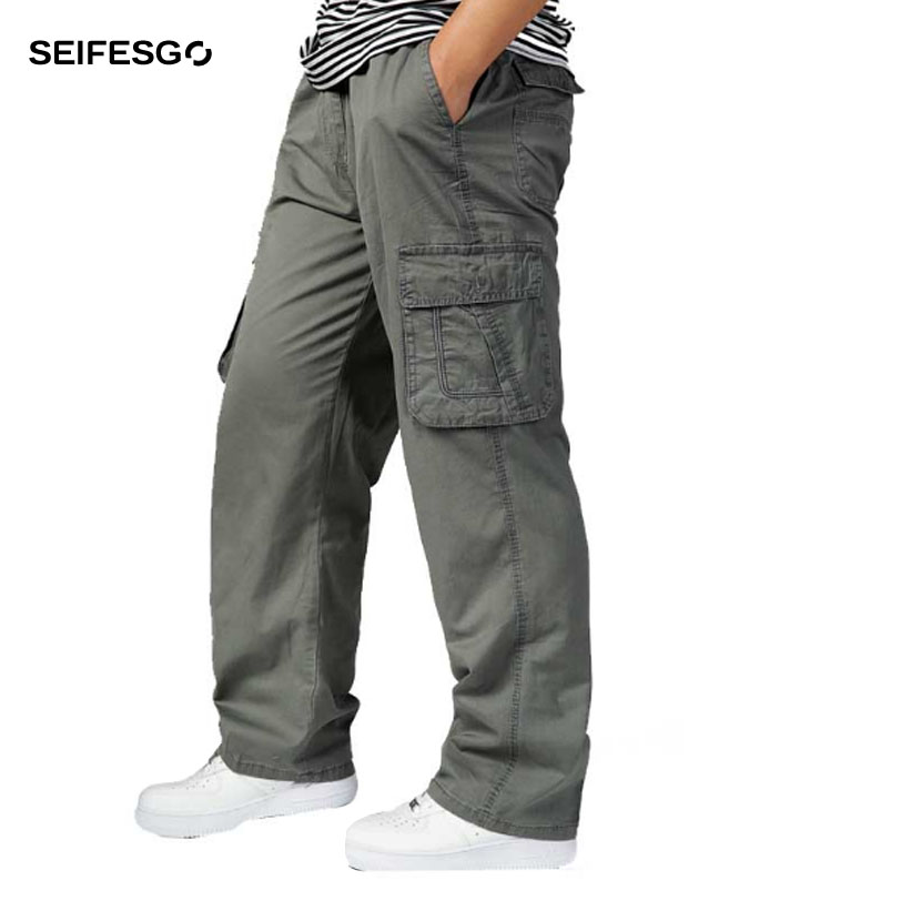 2017 Men Baggy Elastic Waist Cargo Pants Army Green Khaki Black Multi Pockets Decoration Casual Easy Wash Male Spring Trousers(China (Mainland))