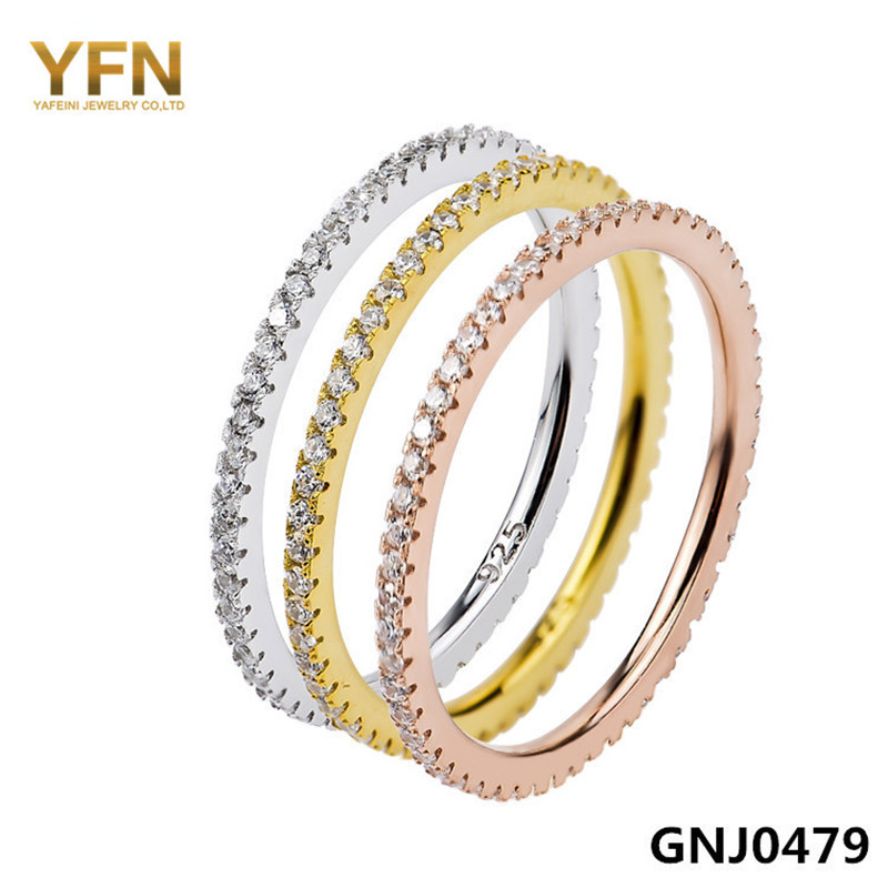 GNJ0479 Genuine 925 Sterling Silver Cubic Zirconia Rings Set Fashion Jewelry Tri-Color Wedding Women One - Elegant Co.,Ltd store
