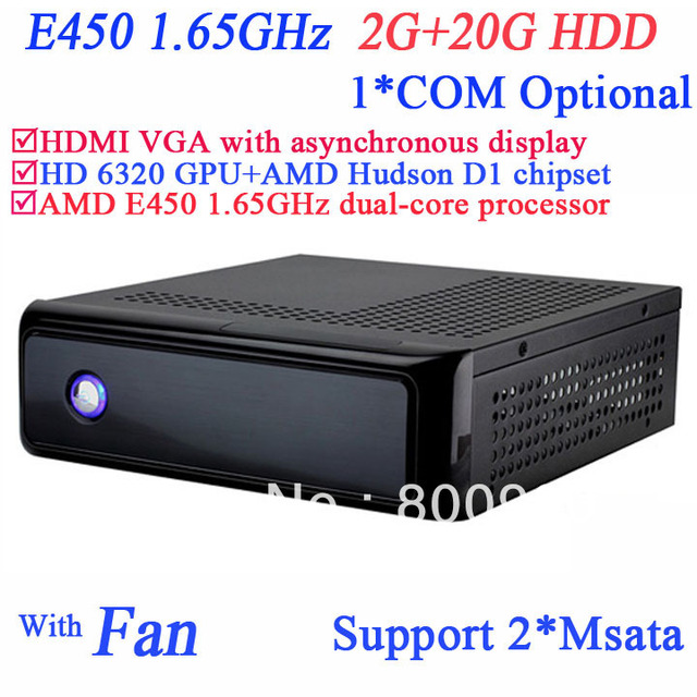linux or windows pos mini pcs with AMD Radeon HD6320 graphic AMD Hudson D1 chipset AMD E450 1.65GHz 2G RAM 20G HDD SECC chassis