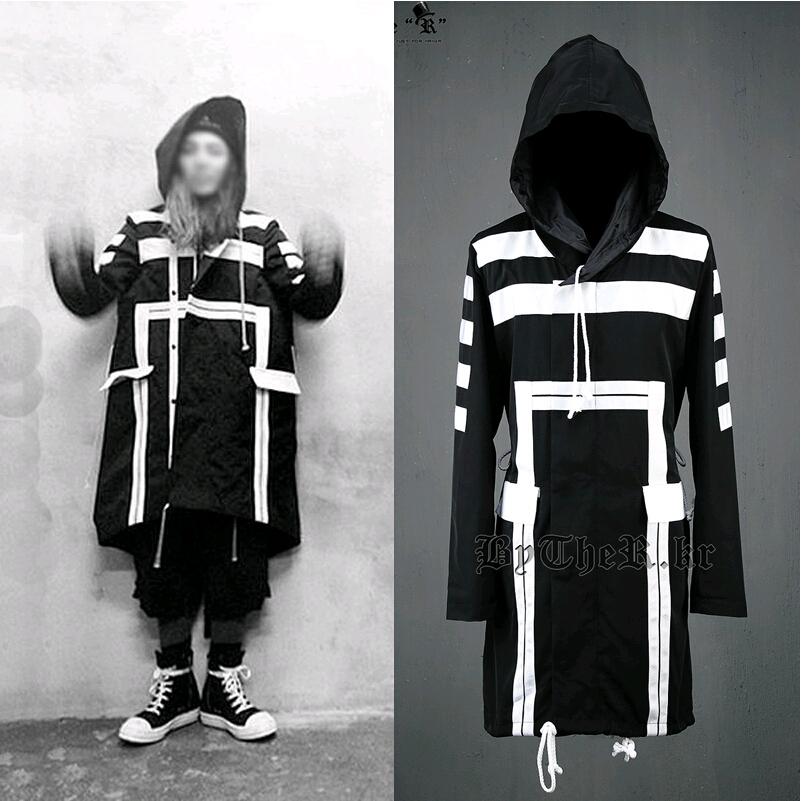 British Gothic 2015 Harajuku Brand Casual Loose Long Winter Trench Coat Men Overcoat Mens Hooded Cloak Pea Coat,Black White,M-XL(China (Mainland))