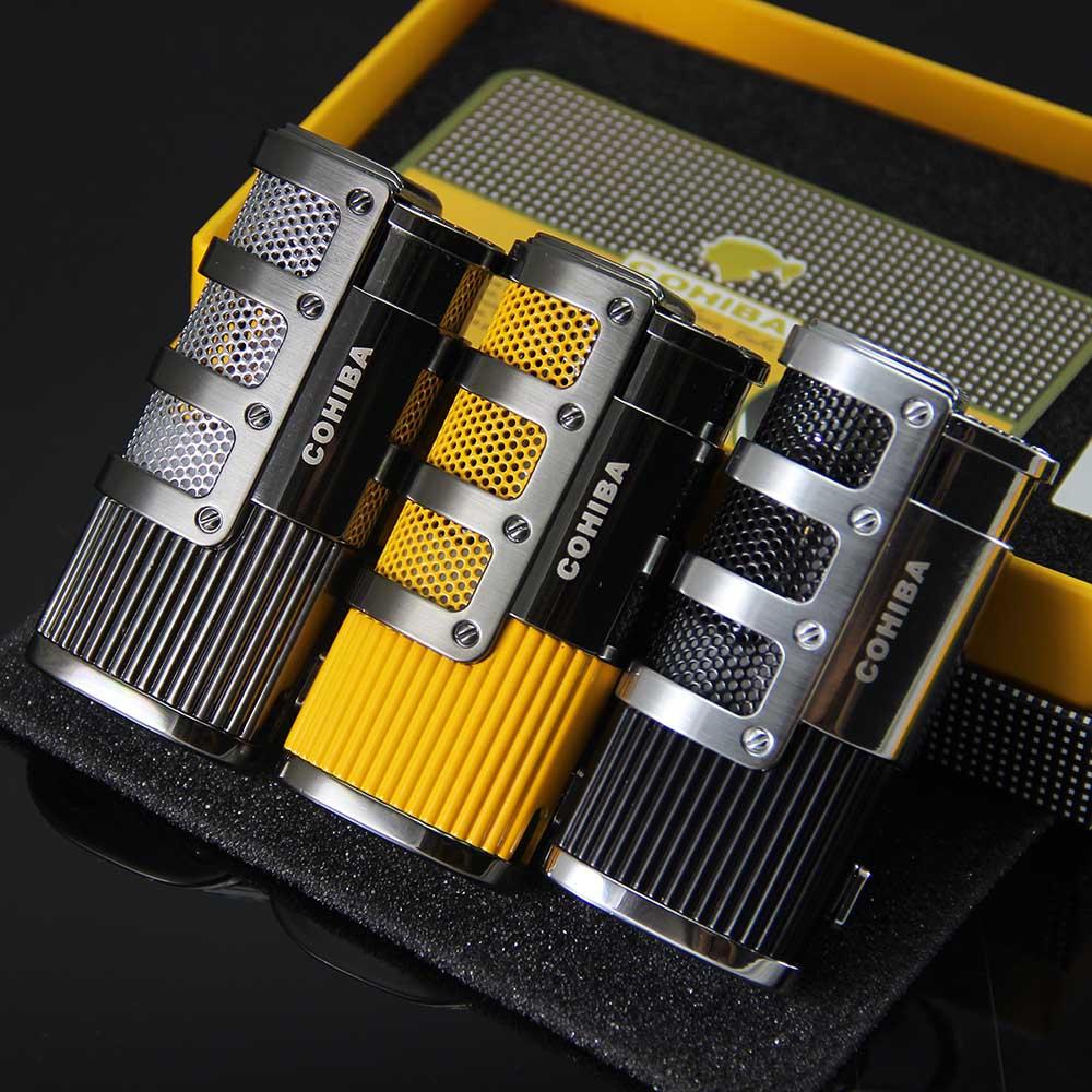 COHIBA Gridding Stripes Jet Flame Cigarette 3 Torch Cigar Lighter W/Punch(China (Mainland))