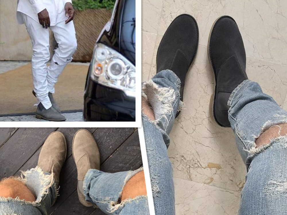 NEW LIST chelsea boots 2016 kanye west boots leather 1:1 fishion life style(China (Mainland))