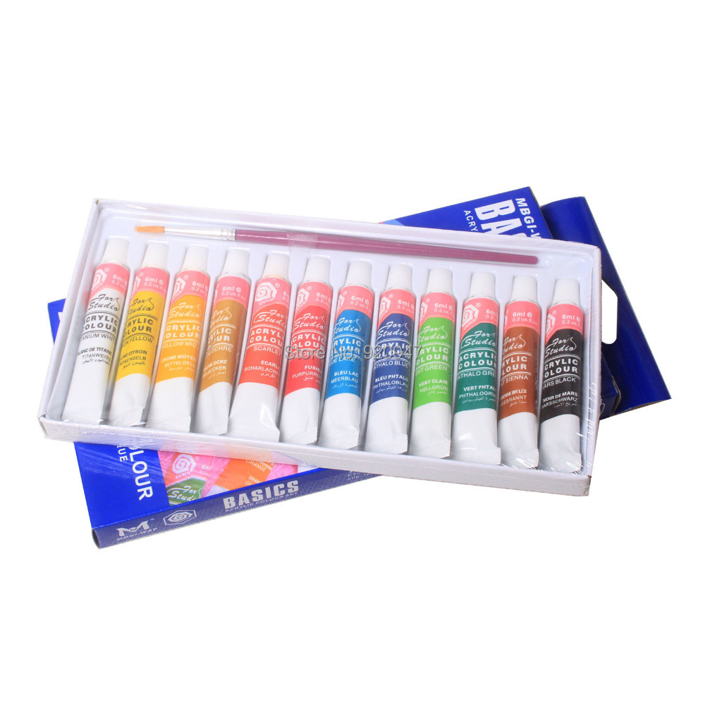 12 Color 6ml Paint Tube Draw Painting Acrylic Color Set & Free A Paint Brush(China (Mainland))