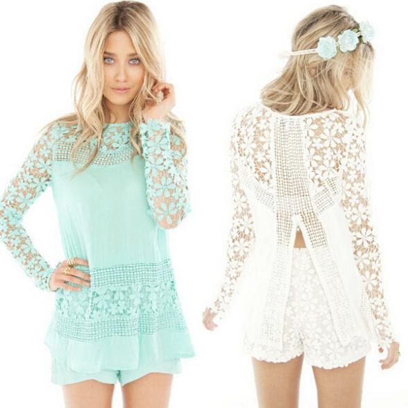 produto Factory direct hot sales european style ladies crochet lace blouse long sleeve shirt women tops feminine blouses blusa de croche