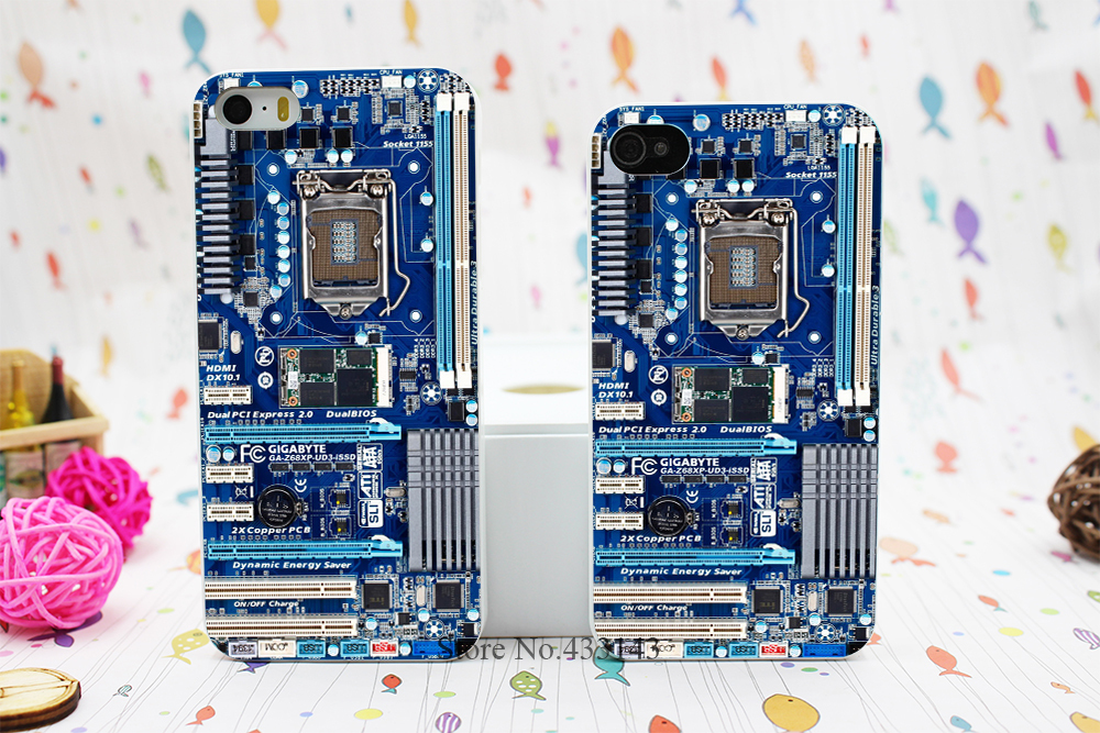 Blue Computer Motherboard Style Hard White Skin Case Cover for iPhone 5 5s 5g(China (Mainland))