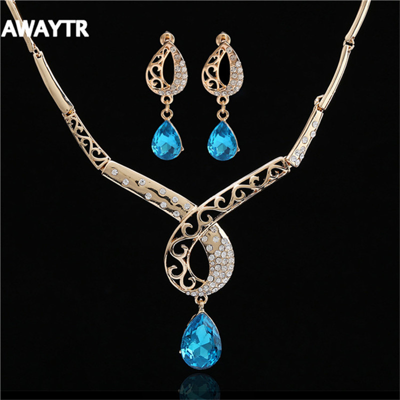 AWAYTR 2016 Sapphire Jewelry For Women Luxury Crystal Blue Water Drop Necklace Love Heart Long Drop Earrings Sets for Party Sets(China (Mainland))