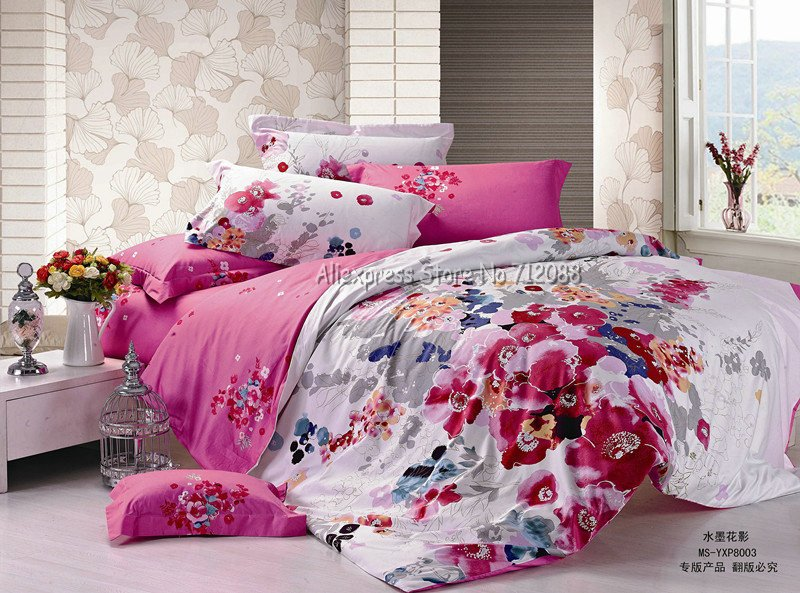 Wholesale,pink red floral china ink painting new 4pc bedlinen duvet quilt covers sets 4pcs Full/Queen bed comforter bedding sets(China (Mainland))