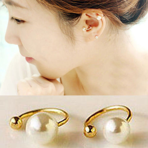 1 Pair Of Size Women Elegant Pearl Ear Wrap Cartilage Cuff U Clip On Earring No Piercing Large/Small(China (Mainland))