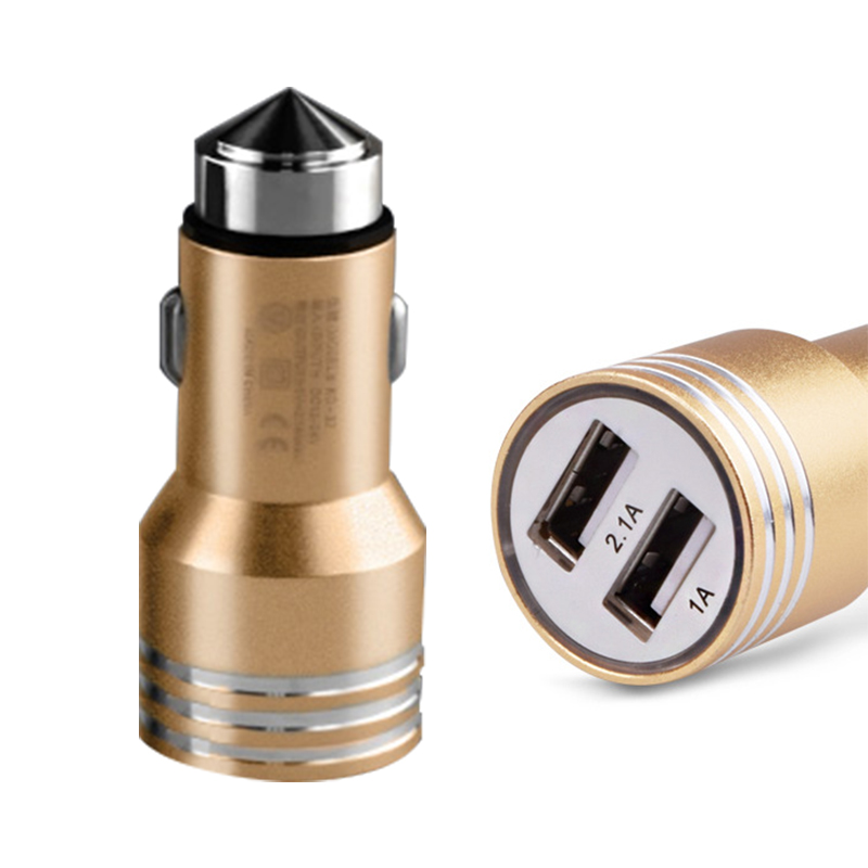 2016 New safety hammer Car Charger 2 USB Car-charger DC 5v 2.1A 1A For iPad iPod iPhone Samsung XiaoMi HuaWei Phone Car Holder(China (Mainland))