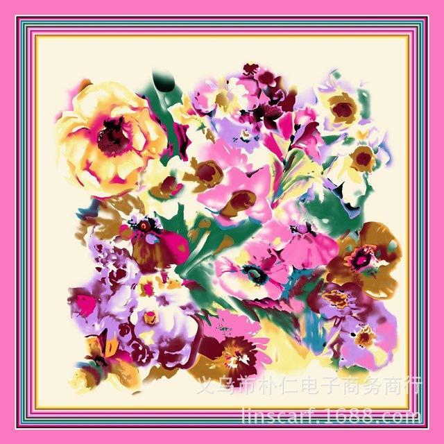 90 см * 90 см цифровой живописи импрессионистов цветы косынка женщины шарфы оптовая продажа