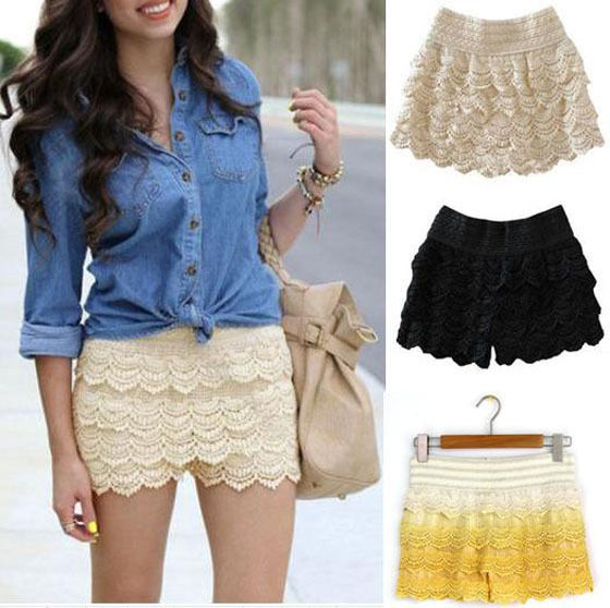 2016 Summer Fashion Style Women Shorts Skirts Feminino High Waist Casual Crochet Tiered Girls Lace Skirt Hot Selling - Jia Cheng Global trade Co., Ltd. store