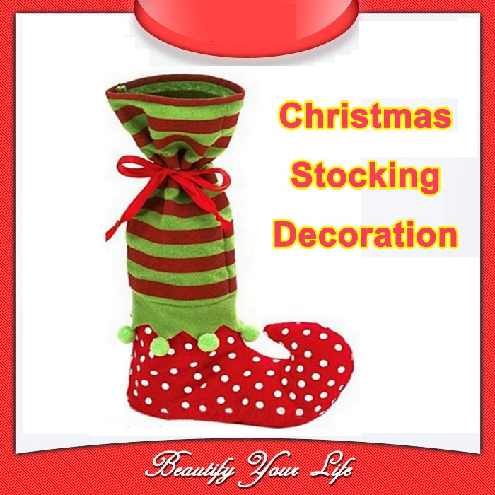5Christmas Socking Tree Decorations Christmas Holiday Ornament Satin Wine Bottle Socks Bags Home Decoration - Bravo!! store