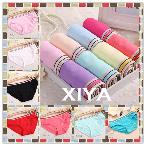 Free Shipping F010 New 6 PCS/lot Plus Size Candy Color Striped Thin Women's Panties Sexy Briefs Fitness Girl's Underwear(China (Mainland))