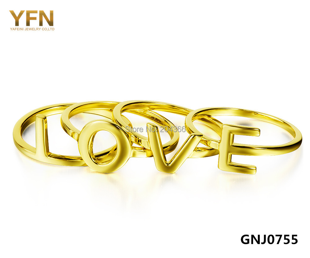 GNJ0755 4pcs/set 925 Sterling Silver 18K Gold Rings Set Fashion Women Jewelry Midi Finger Letter LOVE Knuckle Ring - Elegant Co.,Ltd store