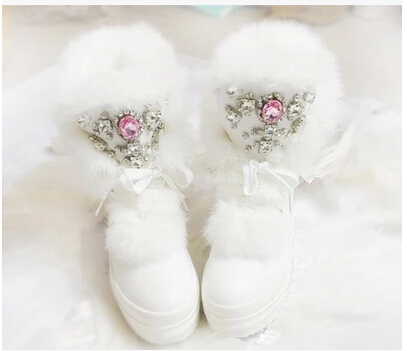 Rabbit Fur Winter Boots Rhinestones Diamond Fashion Snow Boots Thick Warm High-Top Women Shoes Large Size 40 41 <br><br>Aliexpress