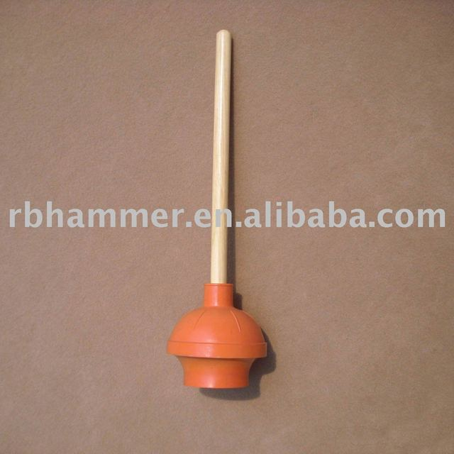 toilet plunger all rubber with wood handle 6 39 39 red plunger in toilet plungers from home garden. Black Bedroom Furniture Sets. Home Design Ideas