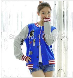 New Fashion Womens Baseball Uniforms Letters O-neckCasual Coat Jacket Long Sleeve Women Trendy Leisure Outwear LW456(China (Mainland))
