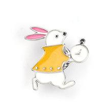 Alice In Wonderland Bros Kelinci Lucu Topi Merah Hati Enamel Kerah Pin Indah Putri Jam Perhiasan Aksesoris Hadiah untuk Anak Perempuan(China)