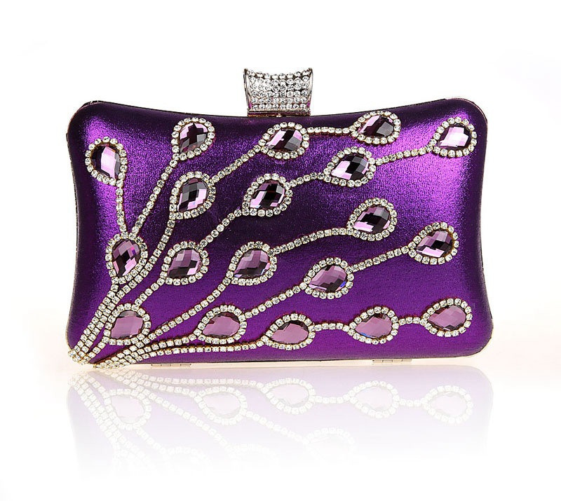 High Fashion Purple Female Zircon Wallet Style Chain Handbag Banquet Clutch Mini Bag Totes Party Evening Bag Mujer Bolso 03865-A(China (Mainland))