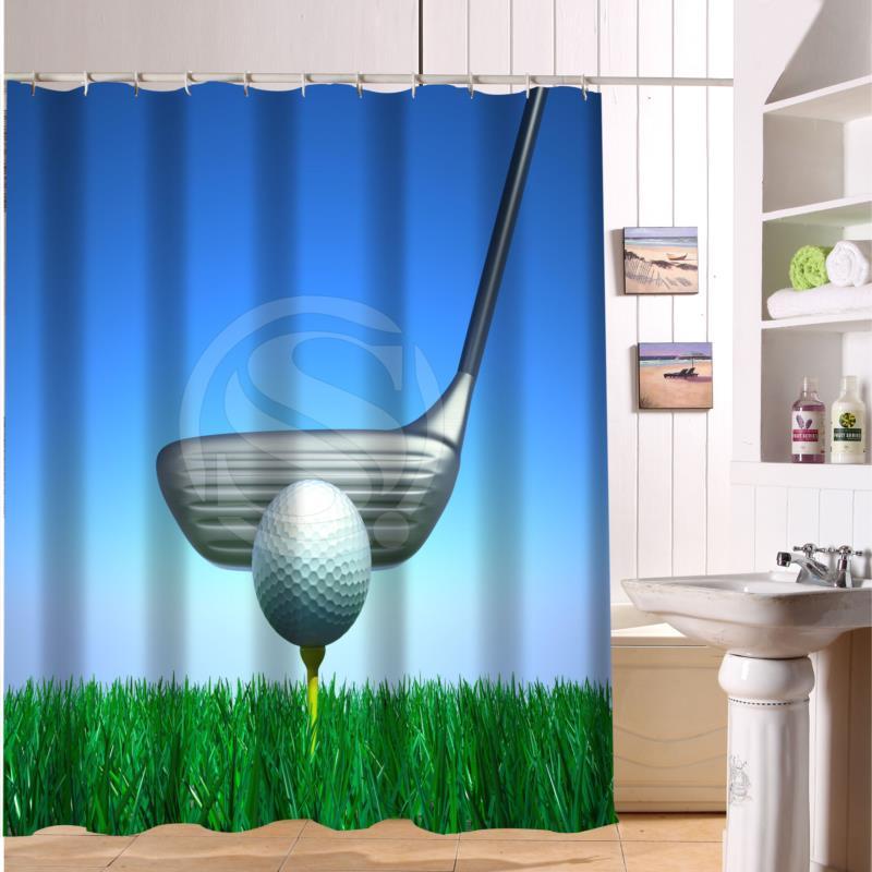 F516XY6 Custom Playing golf ball Fabric Modern Shower Curtain bathroom Waterproof LF4(China (Mainland))