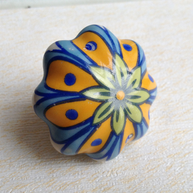Kitchen Furniture Decorative Pumpkin cabinet Door Knob Ceramic Drawer Puller Kids Dresser Knobs Flower painted(China (Mainland))