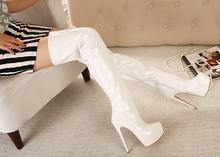 Free shipping 15cm platform fashion big size over-the-knee high-heeled boots 5 - 12 -white(China (Mainland))