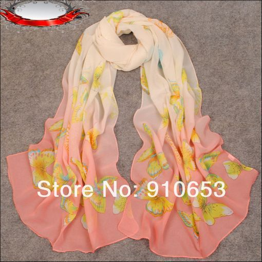 Hot sell !10 Pcs Spring and Autumn Female Chiffon Long Scarf Georgette Shawl Watermelon Red Butterfly Pattern Yarn Scarf z09(China (Mainland))