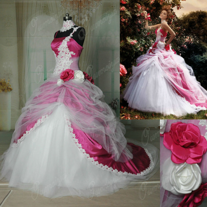 Oumeiya orw333 hot pink and white garden real pictures for Fuschia pink dress for wedding