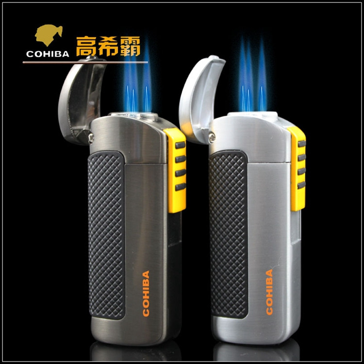 COHIBA Windproof Torch 3 Jet Flame Metal Gas Cigar Lighter With Punch(China (Mainland))