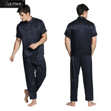 Lilysilk 100% Pure Silk Mens Satin Pajamas 22 Momme Short Sleeves Elastic Waist Eastern Design Wedding Sleepwear Free Shipping(China (Mainland))