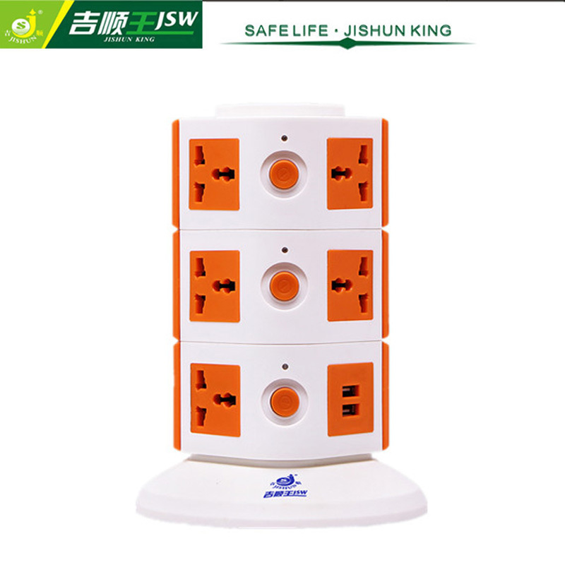 3 Layer Universal Vertical Socket Outlets 250V Extension Socket with Individual Switch and Overload Protector Standard Grounding(China (Mainland))
