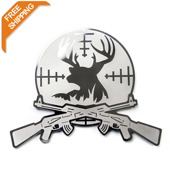 $7.99 free shipping   stainless steel deer hunter emblem /stcker easy peel &stick installation  Car Conclear Sticker T20461
