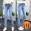 Warm Jeans Women Thicken Fleece Pants Woman Winter Female Stretch Straight Fashion High Waist Velvet Femme