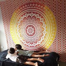 Enipate Besar Mandala India Permadani Wall Hanging Bohemian Pantai Handuk Poliester Selimut Tipis Yoga Selendang Tikar 210X150 Cm selimut(China)