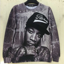 2015 New fashion men/women 3D sweatshirts print character portrait Wiz Khalifa Hip Hop rock singer punk pullover hoodies - bunny xie items store