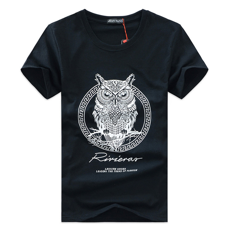 new arrival men fashion 2015 summer style high quality men's tshirt cotton cartoon OWL animal printed T shirt men brand tee 5XL(China (Mainland))