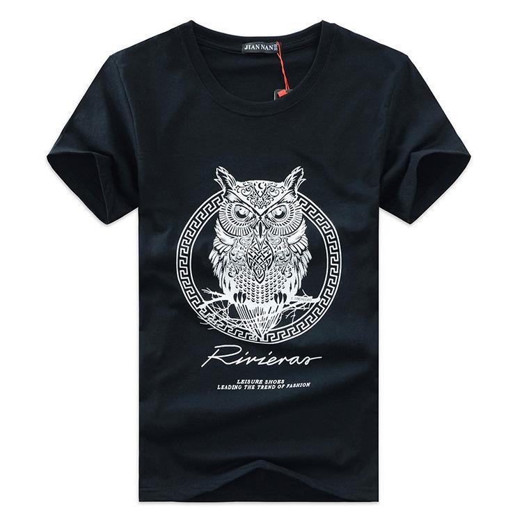 new arrival men fashion 2015 summer style high quality men's tshirt cotton cartoon OWL animal printed T shirt men brand tee 5XL(China (Mainland))