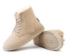 REAVE KEDI Kadın Moda Kar botları Çapraz bağlı Sonbahar kış ayakkabı Akın Kısa peluş Yuvarlak ayak yarım çizmeler Kadın mujer a823(China)