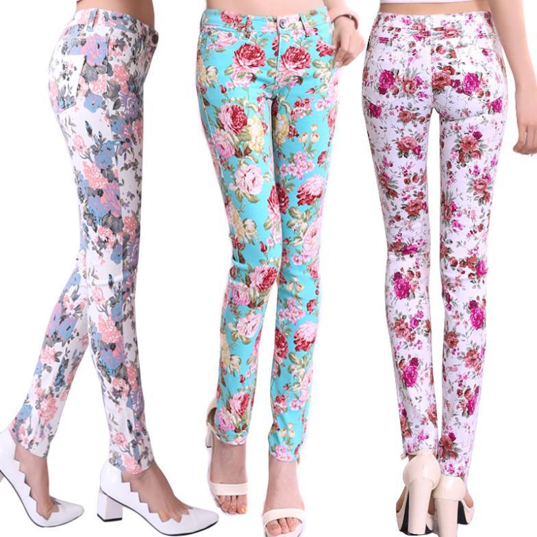 Women pantsu0026capris multi color skinny pants Floral print pants women pencil pants stretch jeans ...