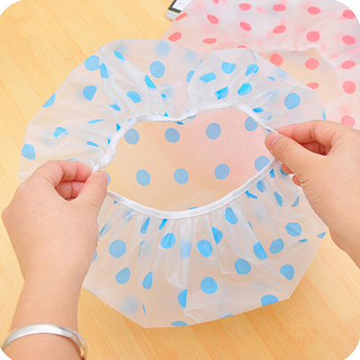 2 pcs Waterproof Shower Cap Beauty Town Beauty Care Accessories Shower Caps Hotel Shower Hat Dot Bath Hats LB(China (Mainland))