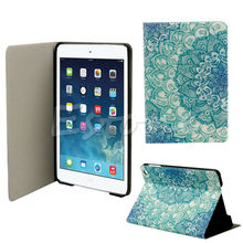 Newest Fashion Green Flower Floral Pattern Flip Stand Leather Case Cover Holster For Apple iPad Mini 123 Retina HOT Tablets Case(China (Mainland))