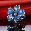 Silver Rings for Women Blue Flower Mini Butterfly Enamel Ring CZ Diamond 925 Sterling Silver Female