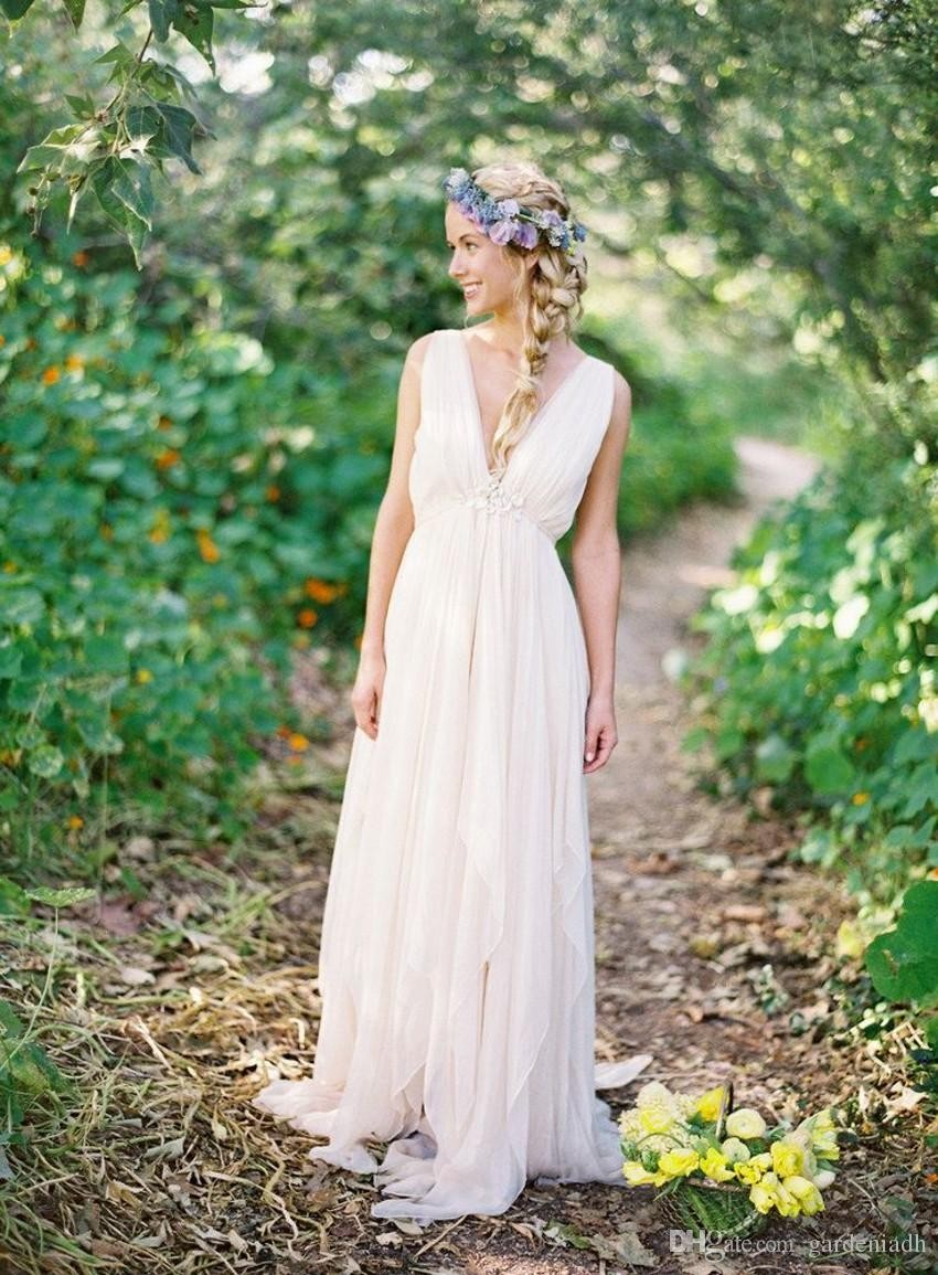 Summer style chiffon grecian backless beach wedding for Greek goddess style wedding dresses