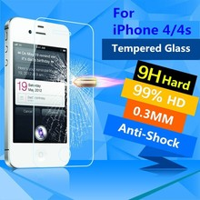 Premium 0.26mm 9H For iPhone 4s Screen Protector For iPhone 4S Tempered Glass Explosion Proof Clear Toughened Protective Film