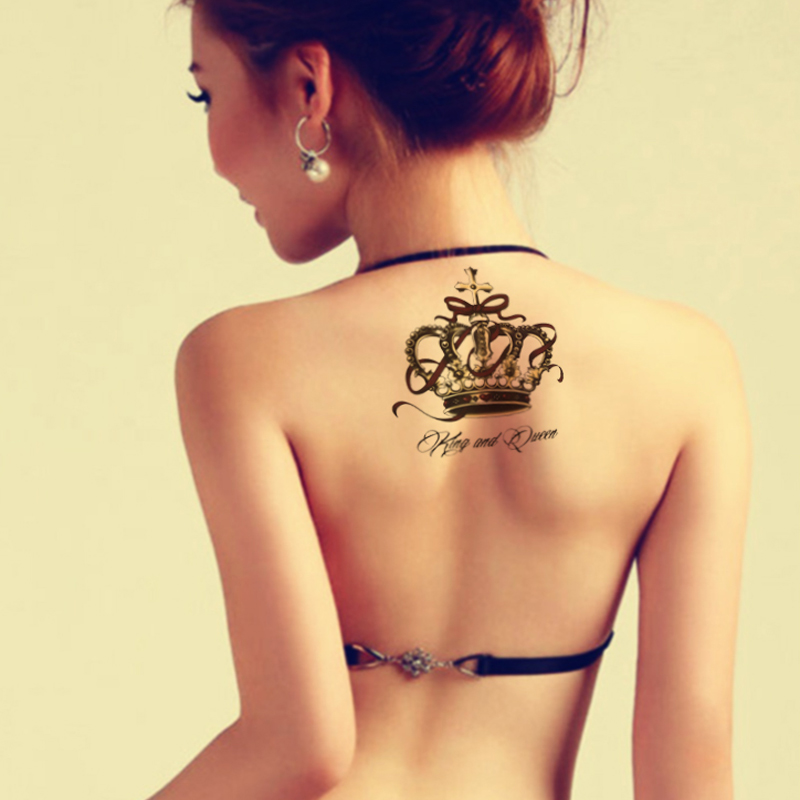 1PC The Luxury Crown Tattoo Lettering Style Temporary Tattoo Sticker For Body Sex Products Women Men Fake Tatoos Transfer Beauty