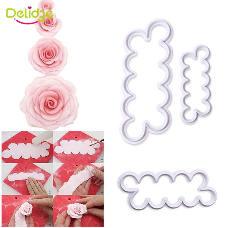 3pcs/set Rose Flower Cookie Cutter Fondant Cake Decorating Tools Sugarcraft Biscuit Cutter for Kitchen Baking Tool(China (Mainland))